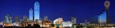 Downtown Dallas, Texas skyline at night