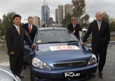KIA Rio being introduced to the media in 2001