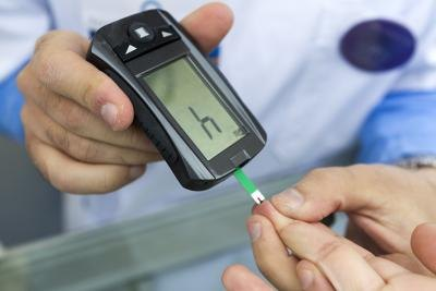 Measuring blood sugar with a glucometer.
