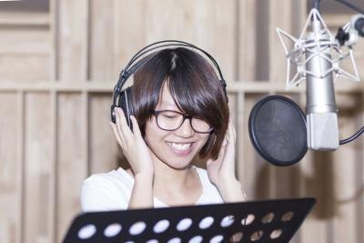 young girl in music studio