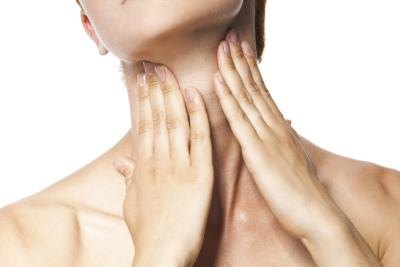 The thyroid gland is located at the bottom of the neck.