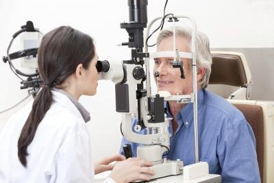 man having eye exam
