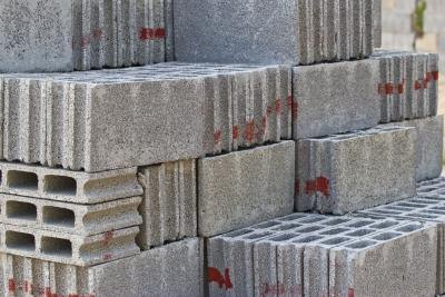 Grey concrete construction blocks