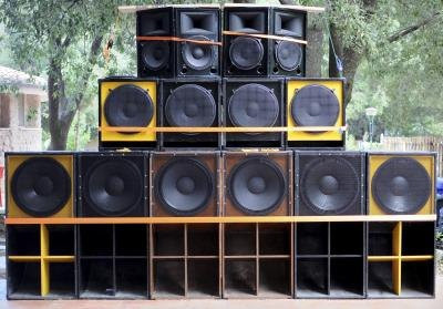 Speakers set up for Reggae music.