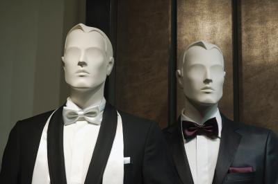Tuxedos on male mannequins