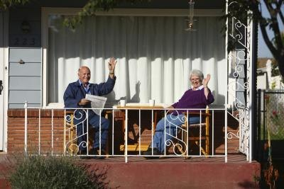 Old couple on porch.