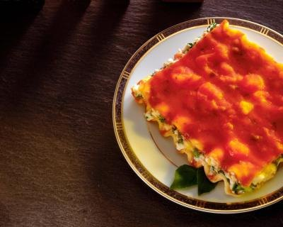 Lasagna is a hearty dish made with sauce, noodles and cheese.