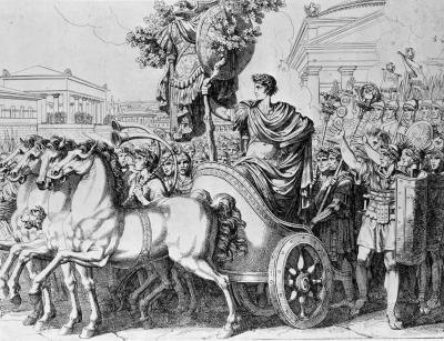 Horse & Cart drawing from Roman times