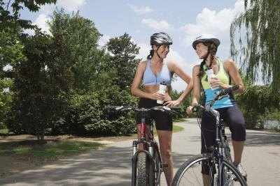 women bicycling