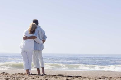 Couple hugging at beach