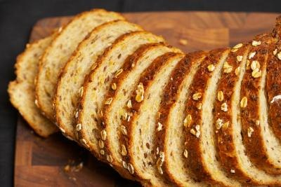 Slices of whole grain bread.
