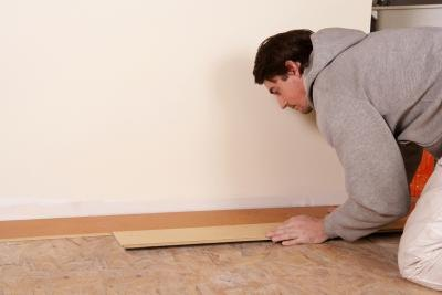 Laminate flooring can be installed by almost anyone in an afternoon with a standard miter saw.
