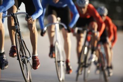 Cyclists participate in a road race.
