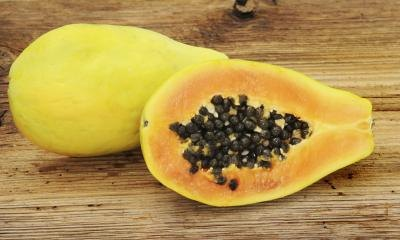 freshly sliced papaya