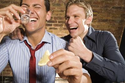 Men drinking at bar