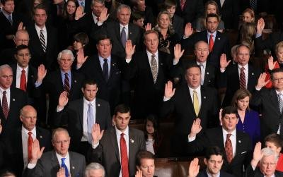 The U.S House of Representatives swears in at a convention.