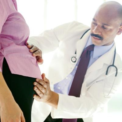 Pregnant woman at doctor
