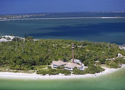Aerial view of Sanibel Island in South Florida