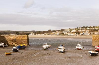 Boats stranded at low tide
