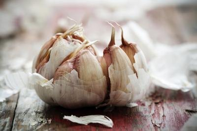 A crushed bulb of garlic.