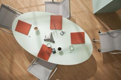 An office meeting table.