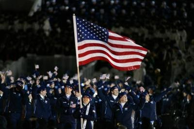 United States olympic delegation at the opening ceremonies in Salt Lake City, UT. in 2002