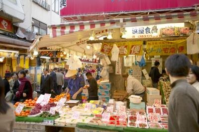People shop at a Japanese market.