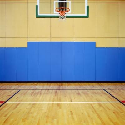 Indoor basketball net.