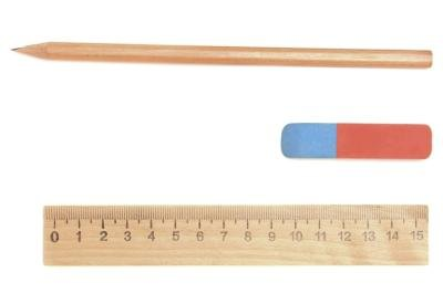 Ruler next to pencil and eraser