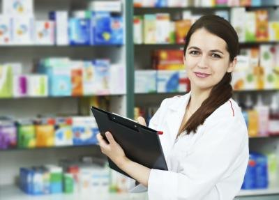 Pharmacy technicians work in a clean, well-lit environment.