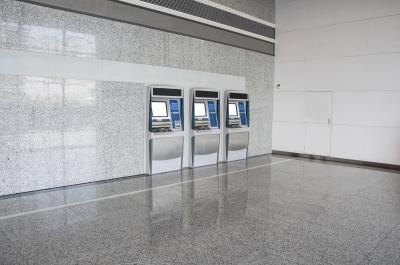 ATM machines inside bank building