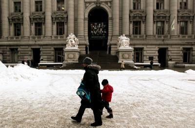 Outside the Custom House in New York City in the winter