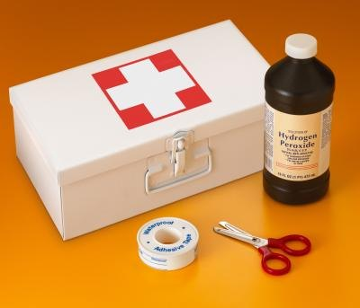 Hydrogen peroxide from first aid kit