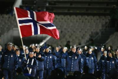 Olympic athletes from Norway at opening ceremonies