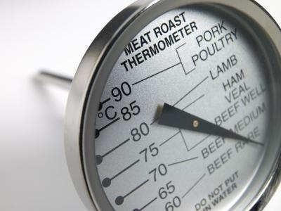 A meat thermometer should be used to cook the steak to its proper temperature.