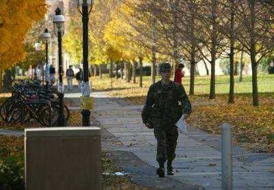 ROTC cadet walking on campus