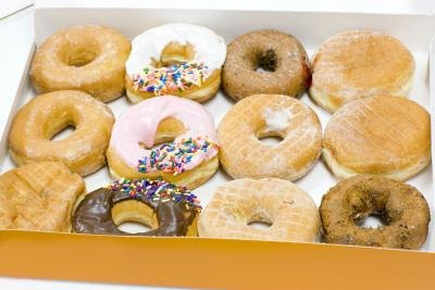 A box filled with donuts