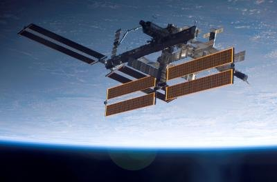 The International Space Station with solar panel arrays
