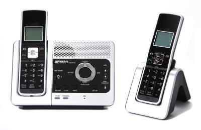 2 cordless house phones on docks.
