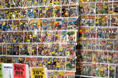 Wall of comic books on display