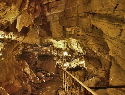 Rock formations in an underground cave.