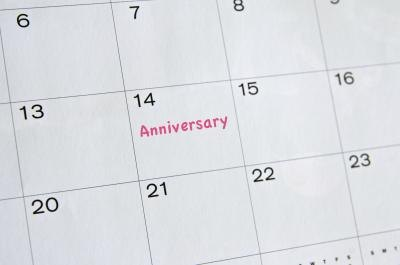 Calendar with anniversary date marked