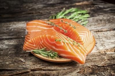Fresh salmon on wood table