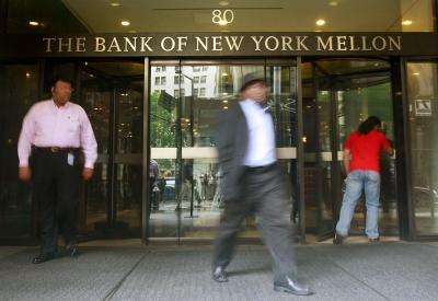 Customers walking out of The Bank of New York Mellon