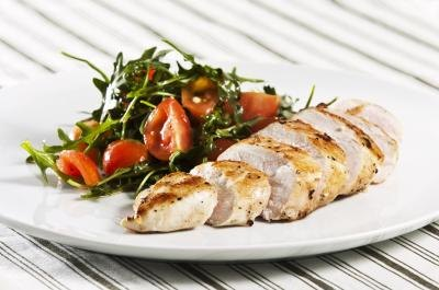 Grilled chicken with a side salad