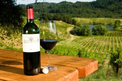 A bottle and glass of red wind on an outdoor table