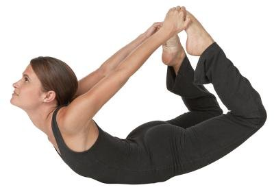 The yoga bow pose stretches your psoas hip flexor muscles.