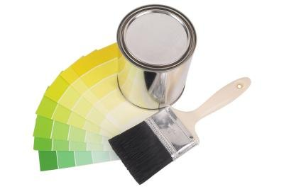 Lighter color swatches with paint brush and paintcan.