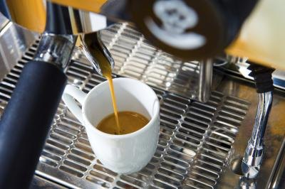Espresso machine in action