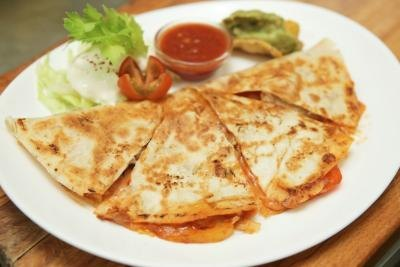 Quesadillas on a plate.
